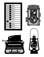 objetos antigos retrô vintage ícone estoque ilustração vetorial