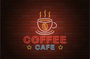 ilustração em vetor café néon brilhante tabuleta de néon