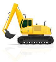 escavadeira para obras rodoviárias ilustração vetorial vetor