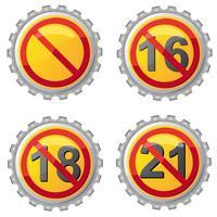 tampas de cerveja com proibição de ilustração vetorial de idade vetor