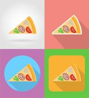 ícones plana de pizza fast-food com a ilustração do vetor de sombra