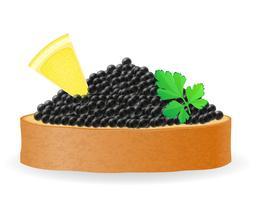 sanduíche com caviar preto limão e salsa ilustração vetorial