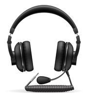 fones de ouvido acústicos com ilustração vetorial de microfone