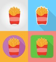 batatas fritas fast-food ícones planas com a ilustração do vetor de sombra