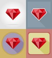 objetos de cassino rubi e ilustração em vetor ícones plana equipamento