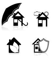 ilustração em vetor silhueta casa conceito preto