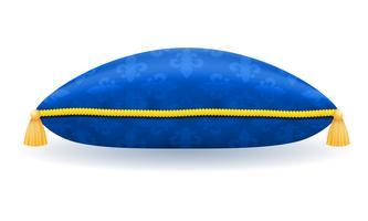 travesseiro de cetim azul com ilustração em vetor corda e borlas de ouro