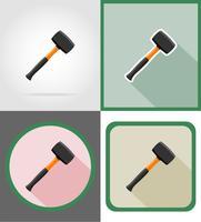 reparação de martelo e construção de ferramentas ícones planas ilustração vetorial