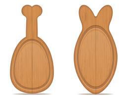 placa de corte de madeira em forma de pernas de frango e ilustração vetorial de peixe