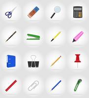 equipamento de papelaria definir ilustração em vetor ícones plana