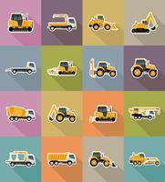 transporte automóvel para reparação e construção de ícones planas ilustração vetorial vetor