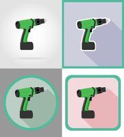 ferramentas de furadeira elétrica para construção e reparação de ilustração em vetor ícones plana