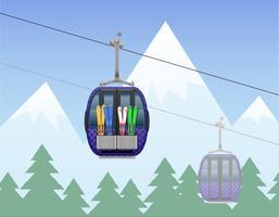 paisagem de montanha com ilustração de vetor de teleférico de esqui de cabine