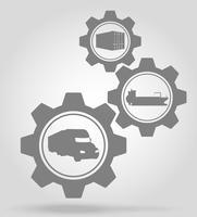 ilustração de vetor de conceito de mecanismo de engrenagem de entrega de carga