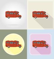 carro van caravan campista casa móvel ícones planas ilustração vetorial vetor