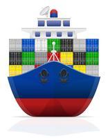 ilustração em vetor navio de carga náutica