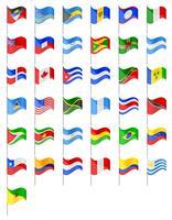 sinalizadores de países do Norte e do Sul, ilustração vetorial de países vetor