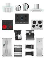 conjunto de ilustração de vetor de aparelhos de cozinha