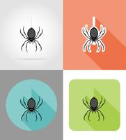 ilustração em vetor ícones plana aranha