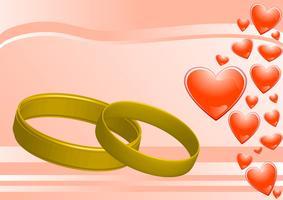 anéis no fundo rosa e corações