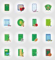 estádio de campo de jogos de tribunal e campo para ilustração em vetor ícones plana de jogos de esportes