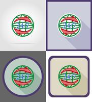 entrega de símbolo em todo o mundo em volta do relógio ilustração em vetor ícones plana