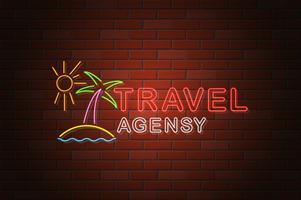 ilustração em vetor agência de viagens brilhante néon tabuleta
