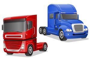 ilustração em vetor grandes caminhões azuis e vermelhos