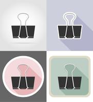 equipamento de papelaria de clipe definir ilustração em vetor ícones plana