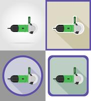 ferramentas de moedor elétrico para construção e reparação de ícones plana ilustração vetorial vetor