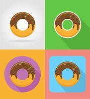 donuts fast-food ícones planas com a ilustração do vetor de sombra