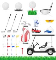 conjunto de ilustração em vetor ícones golfe