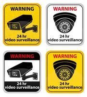 ilustração em vetor sinal de aviso de vigilância por vídeo