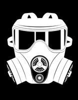 ilustração em vetor preto e branco de máscara de gás de ícone