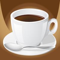 xícara de café com uma colher