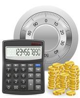 calculadora segura e ilustração em vetor conceito moedas de ouro