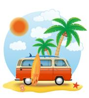 minivan retrô com uma prancha de surf na ilustração vetorial de praia