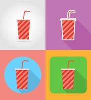 refrigerante em um copo de papel fast-food ícones planas com a ilustração do vetor de sombra