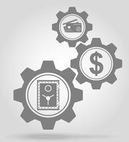 ilustração em vetor conceito mecanismo de engrenagem de finanças