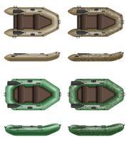 barco de borracha inflável para ilustração vetorial pesca e turismo