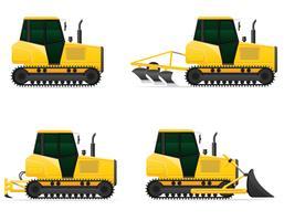 conjunto de ilustração de vetor de tratores de lagarta de ícones amarelos