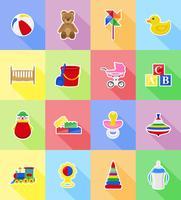 ilustração do vetor ícones plana de brinquedos e acessórios de bebê