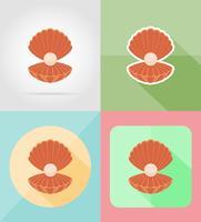 concha com ilustração em vetor ícones plana pérola