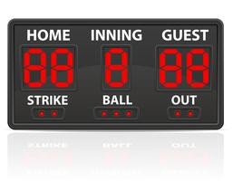 ilustração de vetor de placar digital de esportes de beisebol