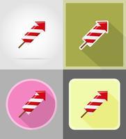 fogos de artifício para ilustração em vetor ícones plana celebração