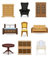 conjunto de ícones ilustração vetorial de móveis