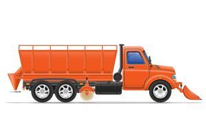 caminhão de carga limpando a neve e polvilhada na ilustração vetorial de estrada vetor