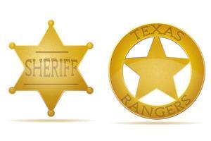 estrela xerife e ilustração vetorial de guarda florestal