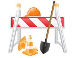 objetos para ilustração em vetor obras rodoviárias