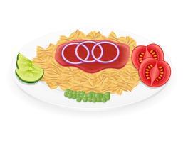macarrão em um prato com legumes ilustração vetorial vetor